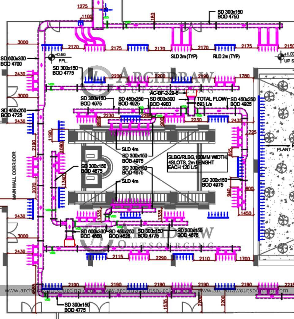 HVAC Duct Shop Drawings Services | Hvac Piping Drawing |  | Archdraw Outsourcing